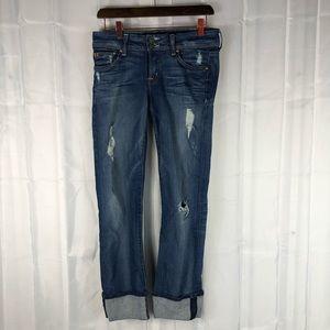 Hudson mid rise distressed cuff straight leg jeans